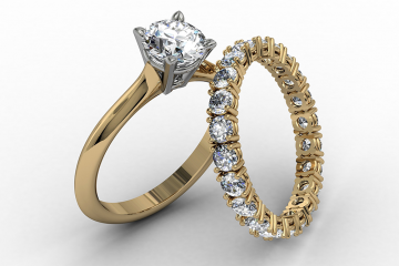 טבעת משובצת יהלומים היקף מלא